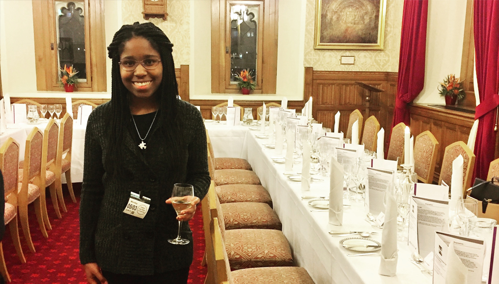 Political Science Major, La'Brittinee Roberson, helping to host an event in the UK's House of Lords.  She is currently spending the semester studying abroad in London. To learn more about study abroad click here.